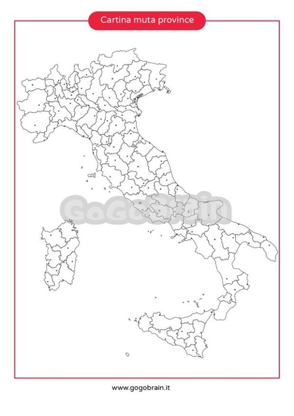 Cartina Italia Muta Con Province.Carta Muta Delle Province D Italia Gogobrain